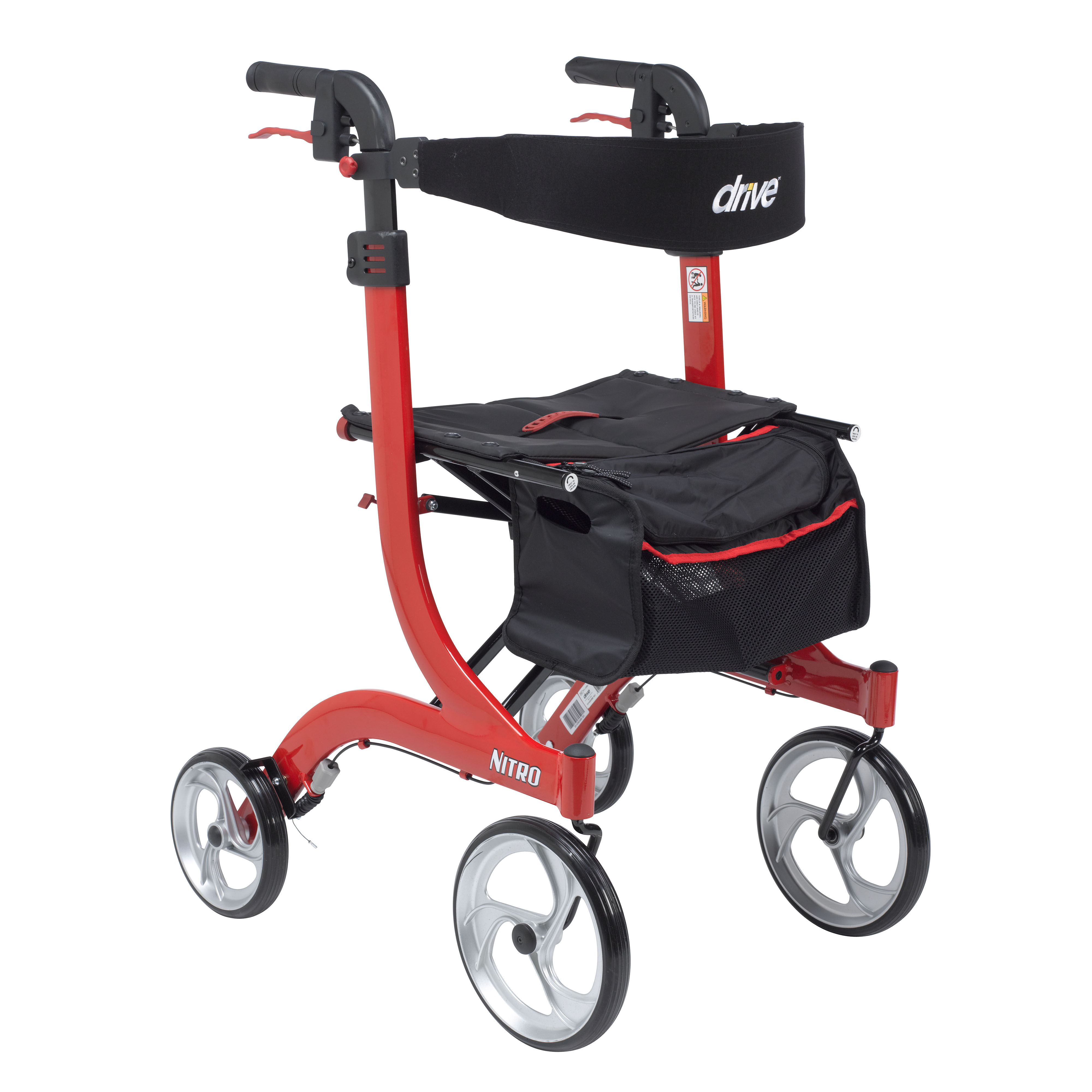 Drive Medical Nitro Euro Style Walker Rollator, Tall, Red