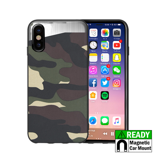 MUNDAZE Green Camo Magnetic Ready Case For Apple iPhone X Phone