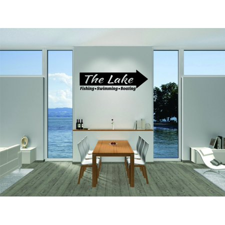 Custom Wall Decal : The Lake Fishing Swimming Boating Quote Getaway Lake House Vacation 12x18