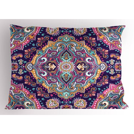 Ethnic Pillow Sham Boho Style Mandala Figures Festive Colorful Spring Garden Themed Old Fashioned Tile, Decorative Standard Size Printed Pillowcase, 26 X 20 Inches, Multicolor, by Ambesonne