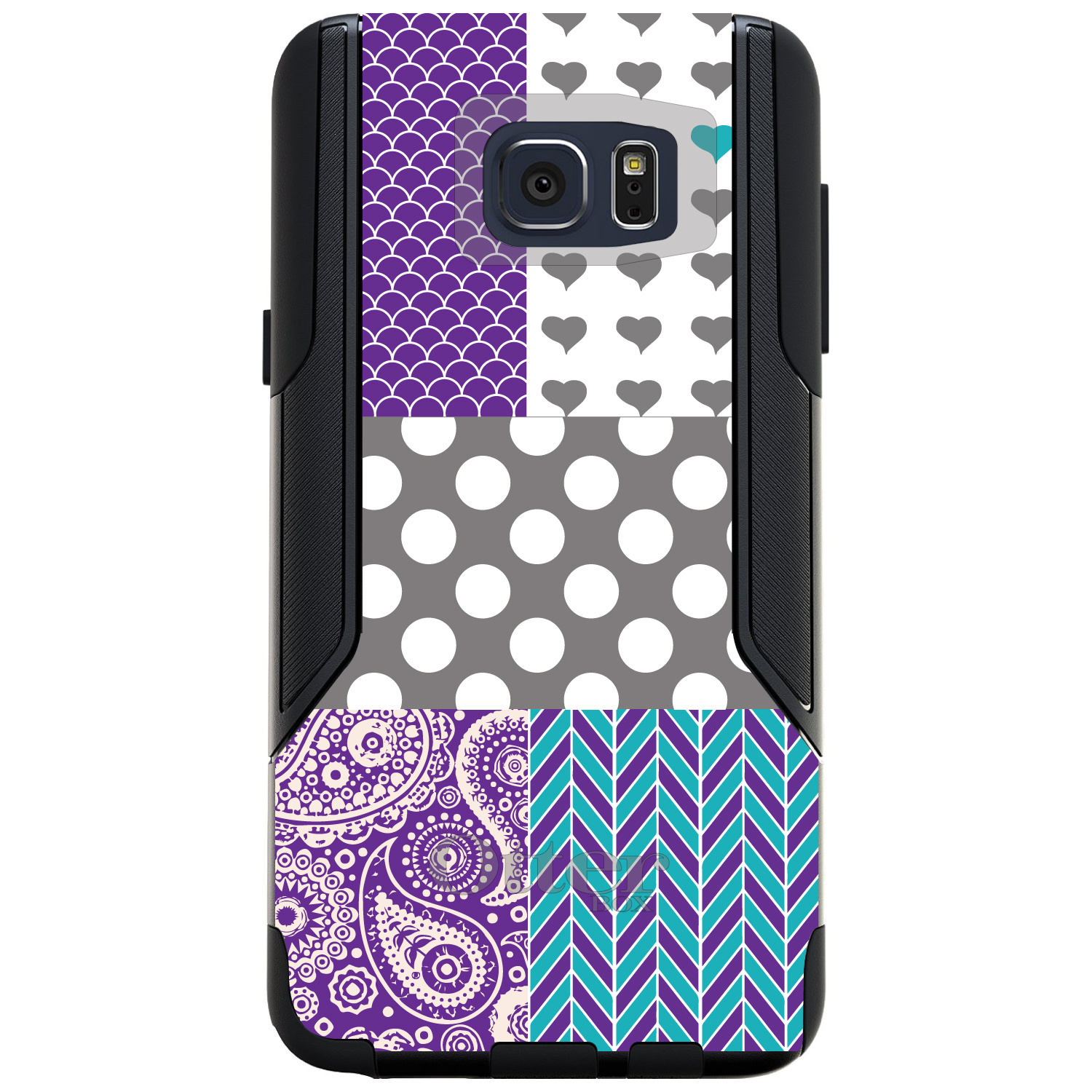 DistinctInk™ Custom Black OtterBox Commuter Series Case for Samsung Galaxy Note 5 - Purple Teal Grey Patterns