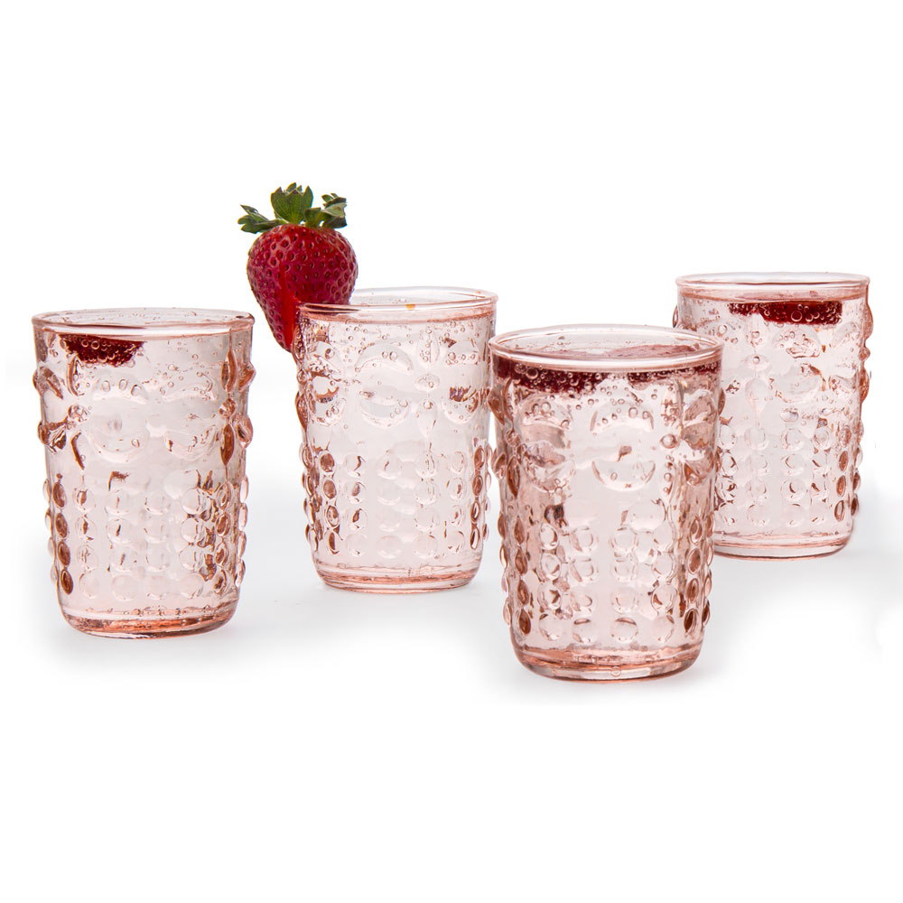 Fleur de Lys Juice Drinking Glasses (Set of 6, Vintage Pink)