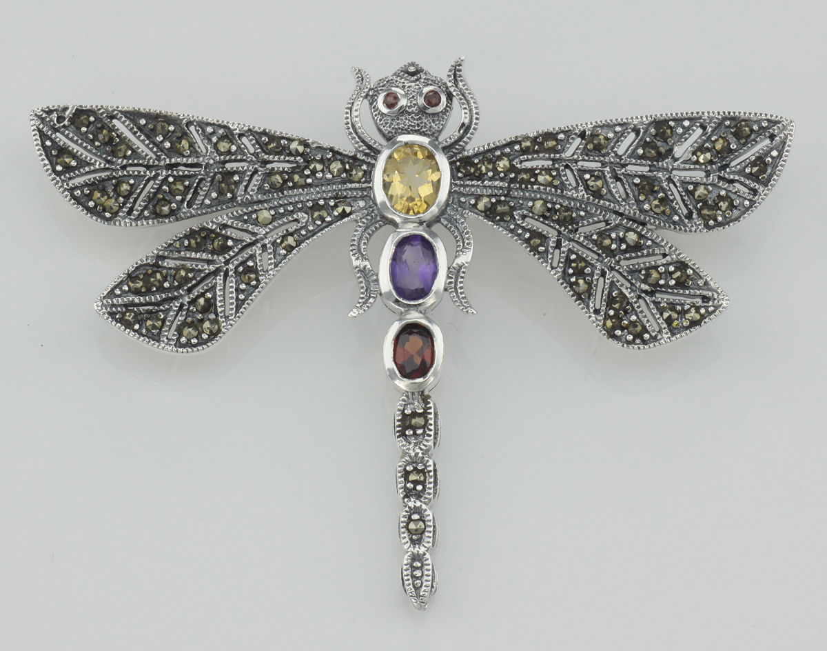 Multi Gemstone Marcasite Dragonfly Pin Sterling Silver by