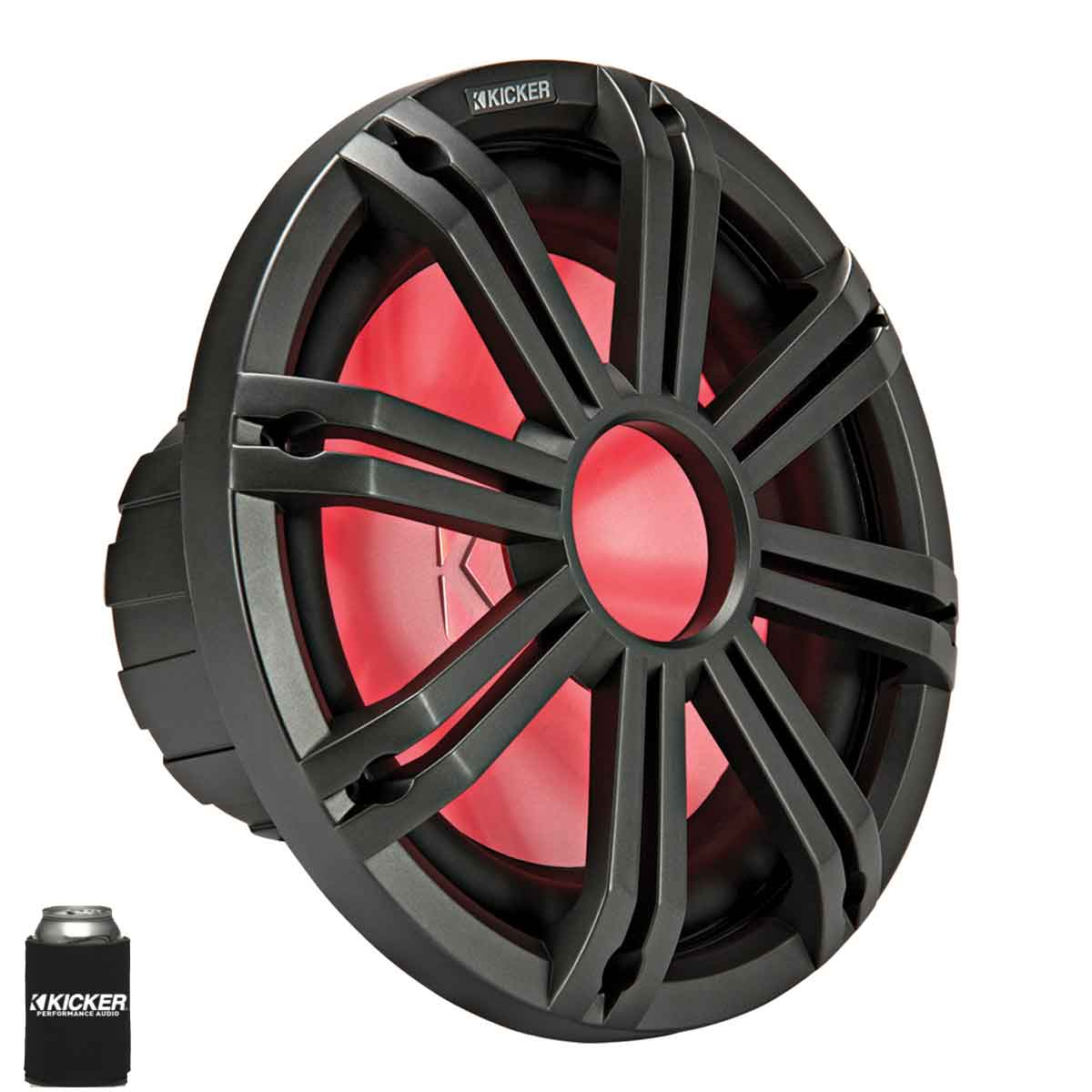 """Kicker KMF124 12"""" Marine Subwoofer with LED Charcoal Grill 2 Ohm for Free Air Applications"""