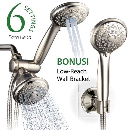 AquaSpa 30-Setting Ultra-Luxury 3-Way Shower Head/Handheld Shower Combo with Insta-Mount® Wall Bracket, Brushed Nickel