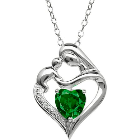 Mother And Child Simulated Emerald And Diamond Accent Pendant In Sterling Silver  18