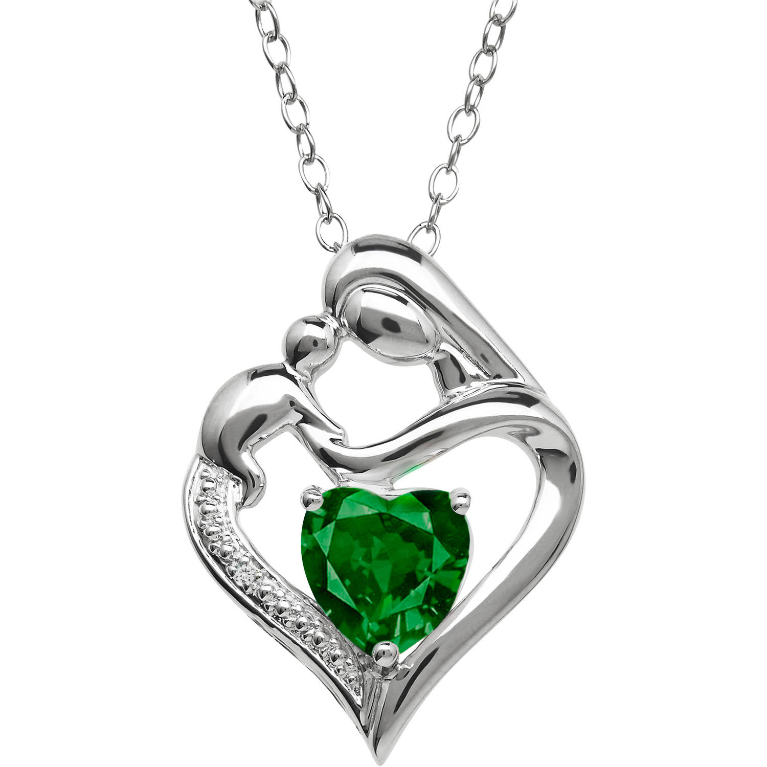 Mother and Child Simulated Emerald and Diamond Accent Pendant in Sterling Silver, 18""