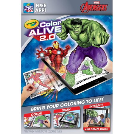 Crayola Color Alive 2.0, Avengers Coloring Book Set with App, 16 ...