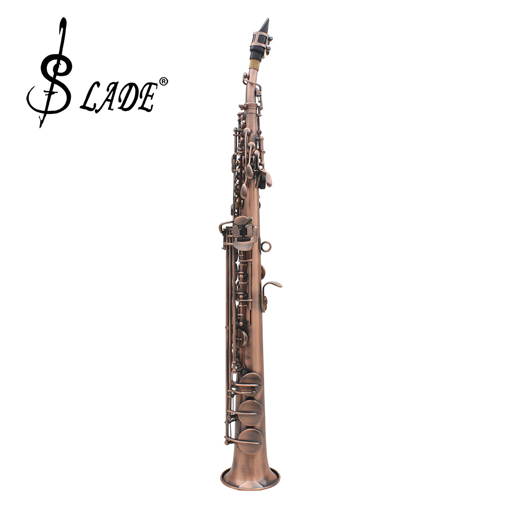 LADE WSS-899 Bb Tone Straight Soprano Saxophone Red Bronze Water-resistant Leather Pads... by