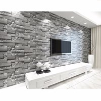 57sq.ft/393.7'' x 21'' 3D Effect Brick Stone Wallpaper Sticker Textured Removable Waterproof for Home Design and Room Decoration, Super Large Size