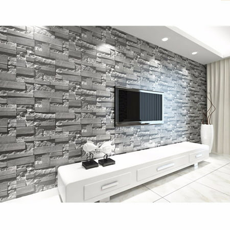 57sq.ft/393.7'' x 21'' 3D Effect Brick Stone Wallpaper Sticker Textured Removable Waterproof for Home Design and Room Decoration, Super Large - Happy Halloween Wallpapers 3d
