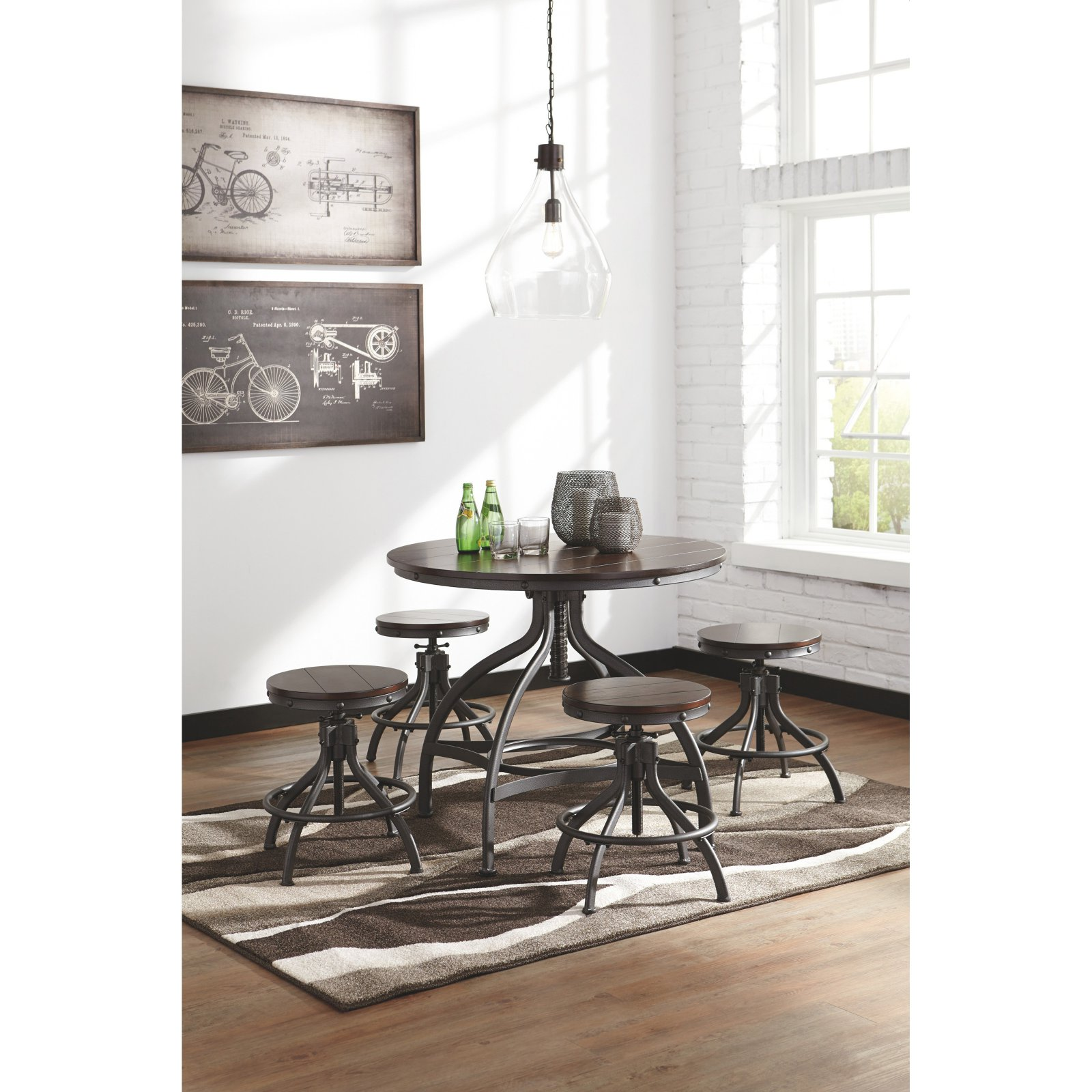 Signature Design by Ashley Odium 5 Piece Adjustable Height Dining