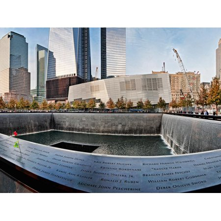911 Memorial Along Side the South Tower Footprint Memorial, New York City, New York State, USA Print Wall Art ()