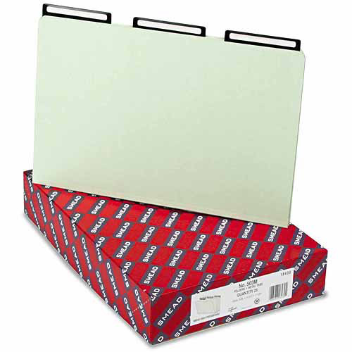 Smead One Inch Expansion Metal Tab Folder, 1/3 Top Tab, Legal, Gray Green, 25/Box