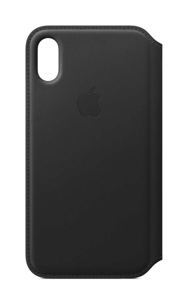 Apple - iPhone® X Leather Folio - Black