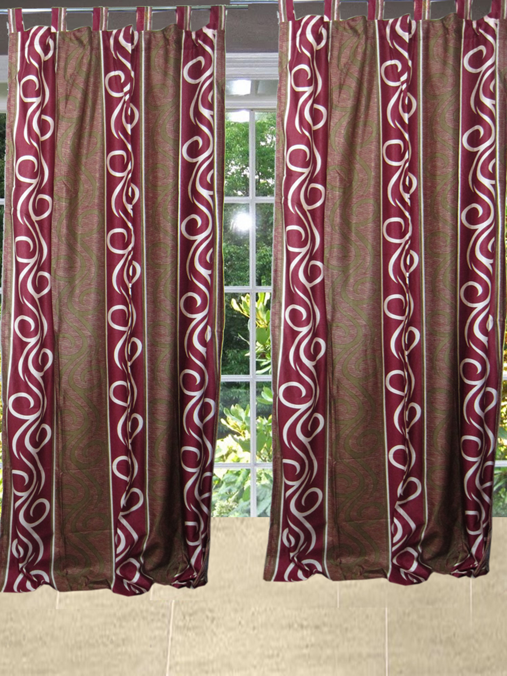 Mogul Two Window Curtains Pair Panels Southwestern Style Tab Top Window Treatments (84x48)