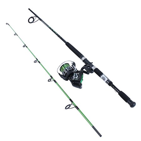 Zebco Bite Alert Spinning Fishing Rod and Reel Combo, 4.9:1 Gear Ratio, 7 2pc Rod, 17-50 lb Line Rating