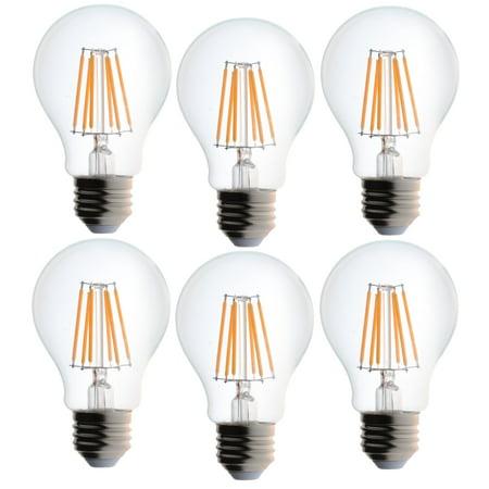 6 Pack Bioluz LED 40 Watt Light Bulbs Dimmable Vintage Edison Style Filament LED A19 Warm White 2700K Clear Pendent Light Bulb UL Listed ()