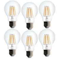 6 Pack Bioluz LED 40 Watt Light Bulbs Dimmable Vintage Edison Style Filament LED A19 Warm White 2700K Clear Pendent Light Bulb UL Listed