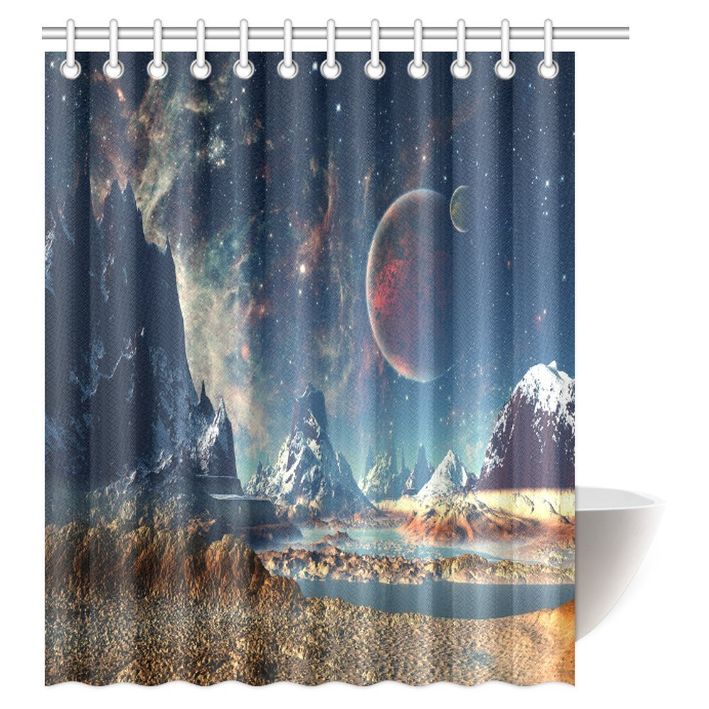 GCKG Fantasy Shower Curtain Alien Planet With Earth Moon And Mountain Sci Fi Galactic Future Cosmos Art Fabric Bathroom Hooks