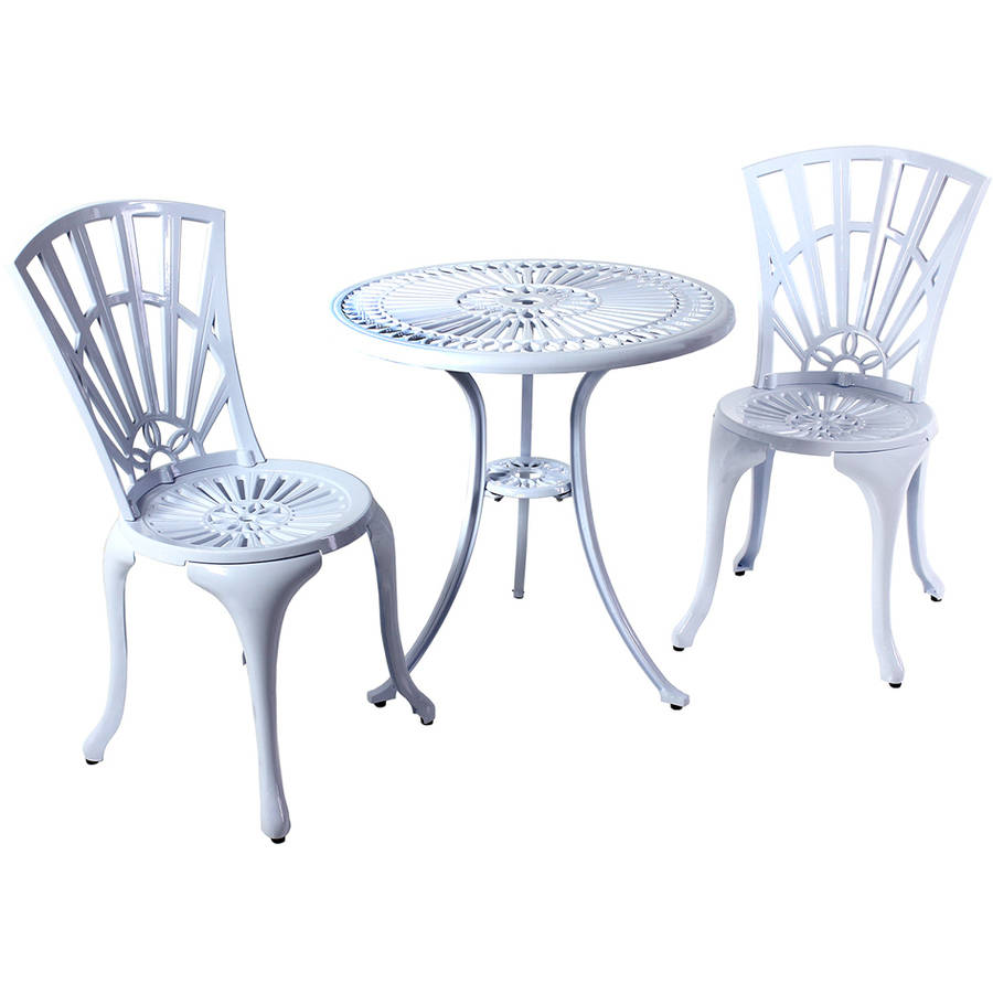 River Cottage Gardens PB601WHT White Cast Aluminum Bistro Table And Chairs  3 Piece Set