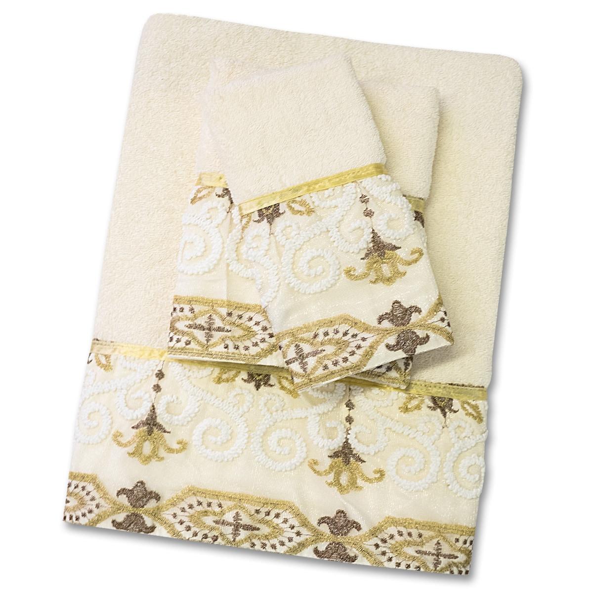 bed bath n more Savoy 3 Piece Towel Set- Gold/Ivory