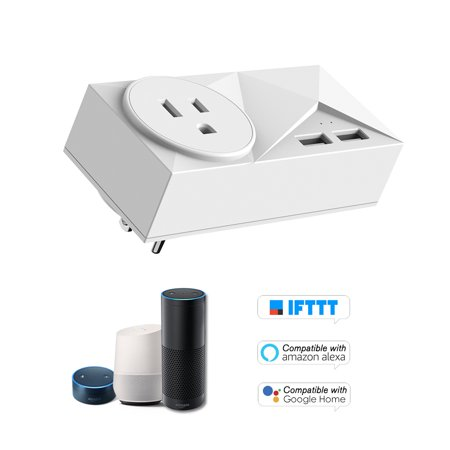 Wifi Smart Plug Mini Dual Outlets 2 USB Ports Smart Socket with Energy Monitoring & Timing Function,Voice Control Compatible with Amazon Alexa for Google Home/IFTTT,1 Pack (Monitoring Controls)