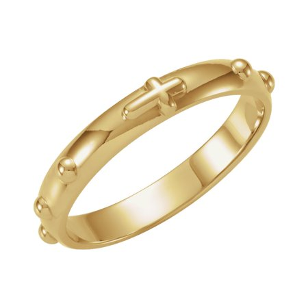 18k Yellow Gold Rosary Ring Size 7