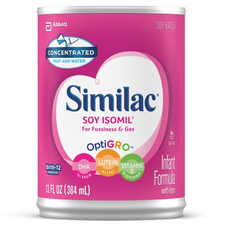 Similac Soy Isomil For Fussiness and Gas Infant Formula with Iron Baby Formula 13 fl oz Can (Pack of