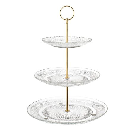 Nautical Themed Appetizers (Fisher Home Products 3-Tiered Serving Stand (Glass) Beautiful, Elegant Dishware | Serve Snacks, Appetizers, Cakes, Candies | Durable, Reusable | Party or Holiday Hosting)