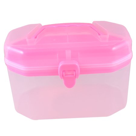 Clear Pink  Box Shape Double Layers Components Storage Box Holder