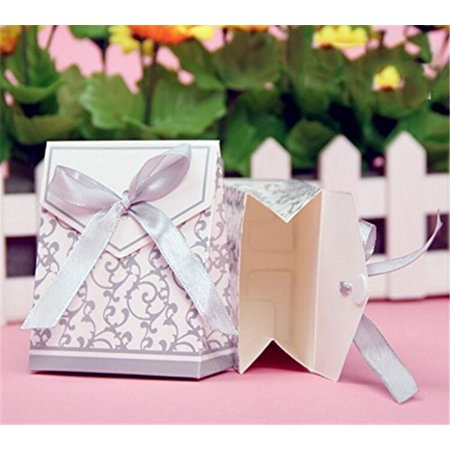 50Pcs/bag Elegant Candy Paper Boxes Romantic Weeding Party Favor Gift Bags with Ribbon, Wedding Candy Box, Wedding Favor Boxes