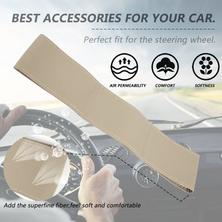 Auto Car Steering Wheel Cover With Needles And Thread Leather Car Covers Suite - image 5 de 5