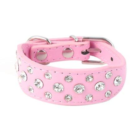 Mini Pet Puppy Metal Buckle Faux Leather Rhinestone Dog Collar Pink Size XXS