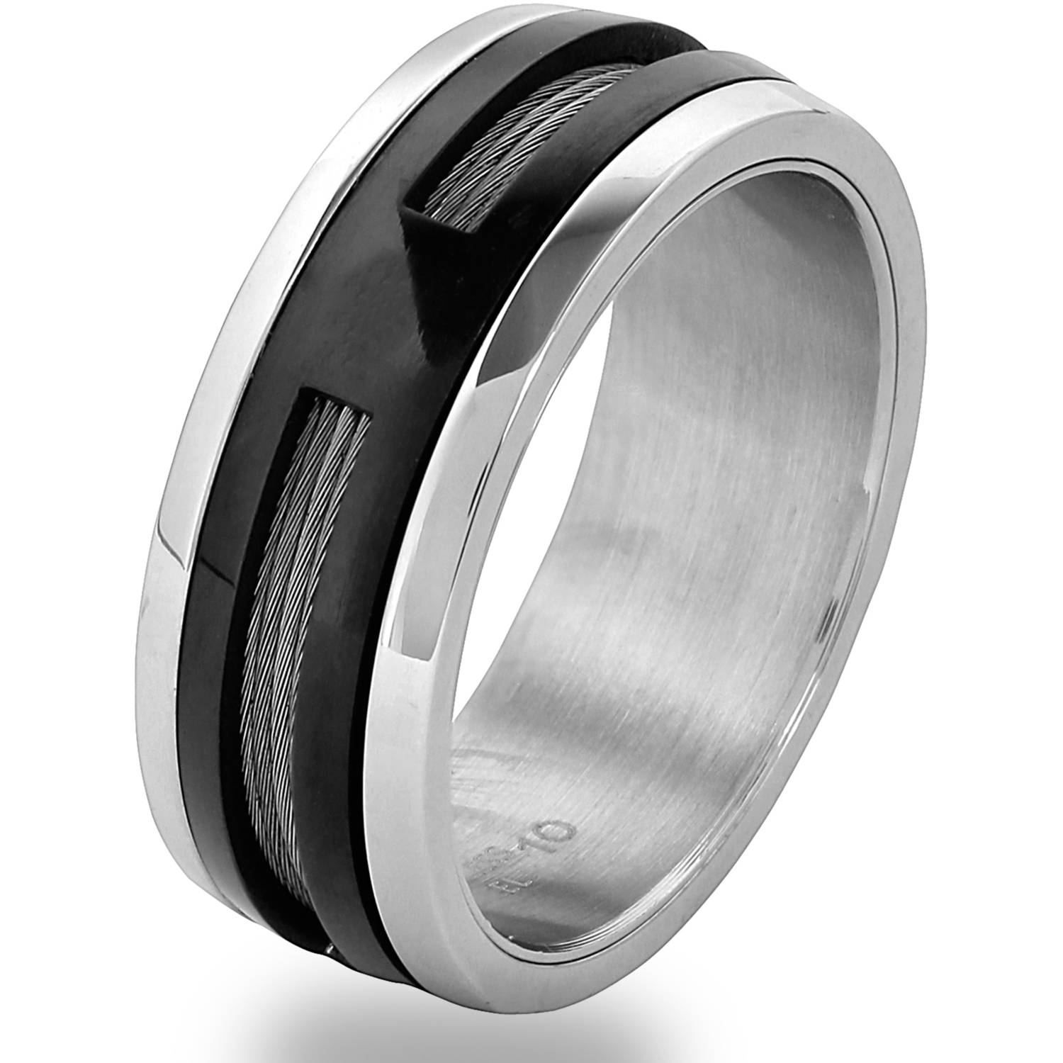 Men s Two Tone Stainless Steel Cable Inlay Spinner Ring Walmart