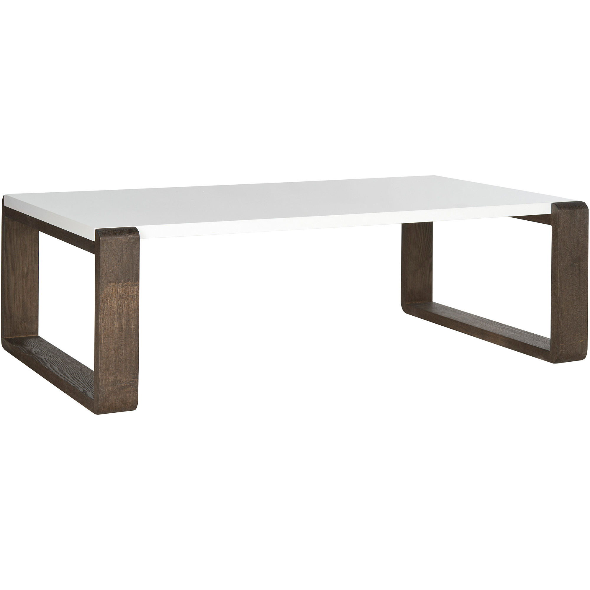 safavieh bartholomew lacquer coffee table, white and dark brown