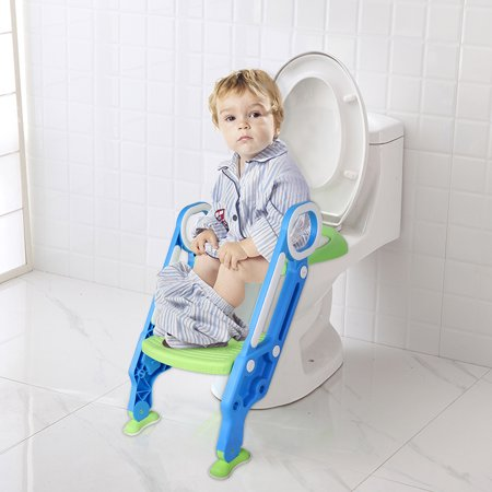 3 in 1 Baby Potty Toilet Seat with Step Stool ladder Trainer for Kids Toddlers Handles, wth S Shape Toilet Cleaning Brush, Built In Non-Slip Steps Anti-Slip (Baby Bjorn Toilet Trainer)