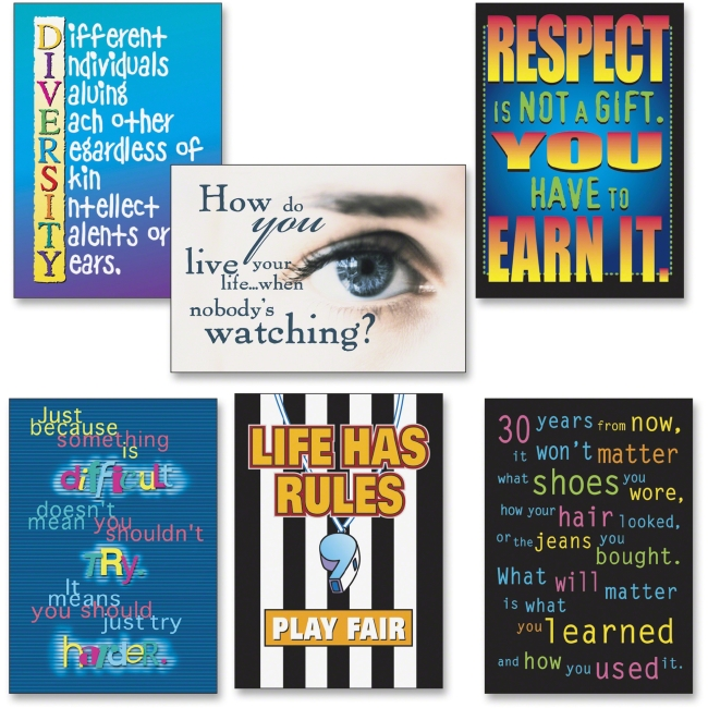 "Trend Building Character Posters Combo Pack - Motivation - 13.38"" Width x 19"" Height - Assorted"