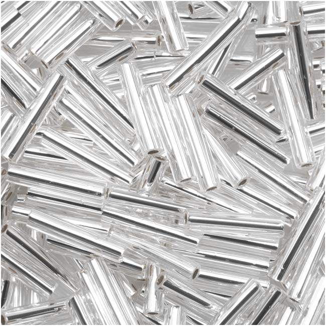Toho Bugle Tube Beads Size #3 2x9mm Silver Lined Crystal 10 Grams