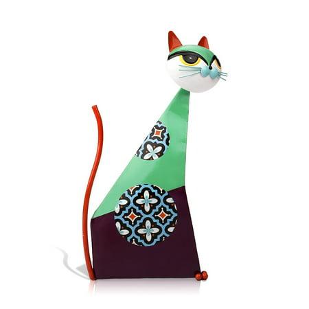 TOOARTS Fortune Cat Sculpture (Green) Metal sculptrue Iron sculpture Abstract sculpture Crafting Home furnishing articles Decoration Art ()