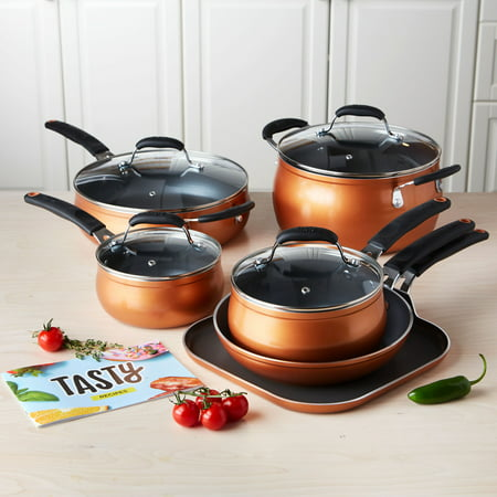 Tasty 11pc Cookware Set Non-Stick - Diamond Reinforced - Copper