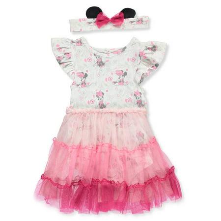 Disney Minnie Mouse Baby Girls' Dress/Bodysuit Combo with Headband](Baby Minnie Mouse Ears Headband)
