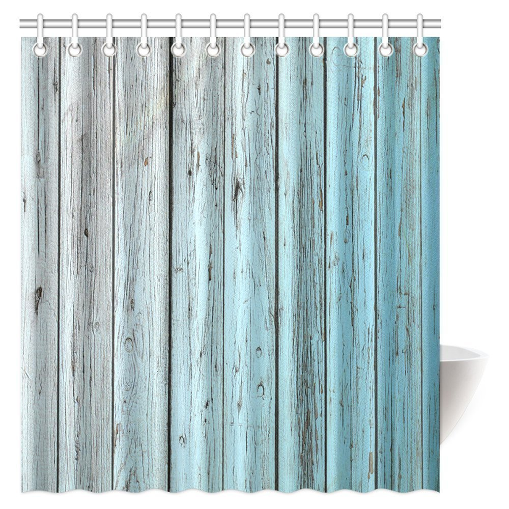 MYPOP Village Rustic Wood Panels Fabric Bathroom Shower Curtain Decor Set with Hooks, 66 X 72 Inches, Teal Grey
