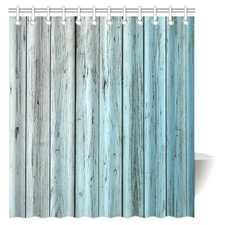 MYPOP Village Rustic Wood Panels Fabric Bathroom Shower Curtain Decor Set with Hooks, 66 X 72 Inches, Teal Grey (Shower Curtain Teal Grey)