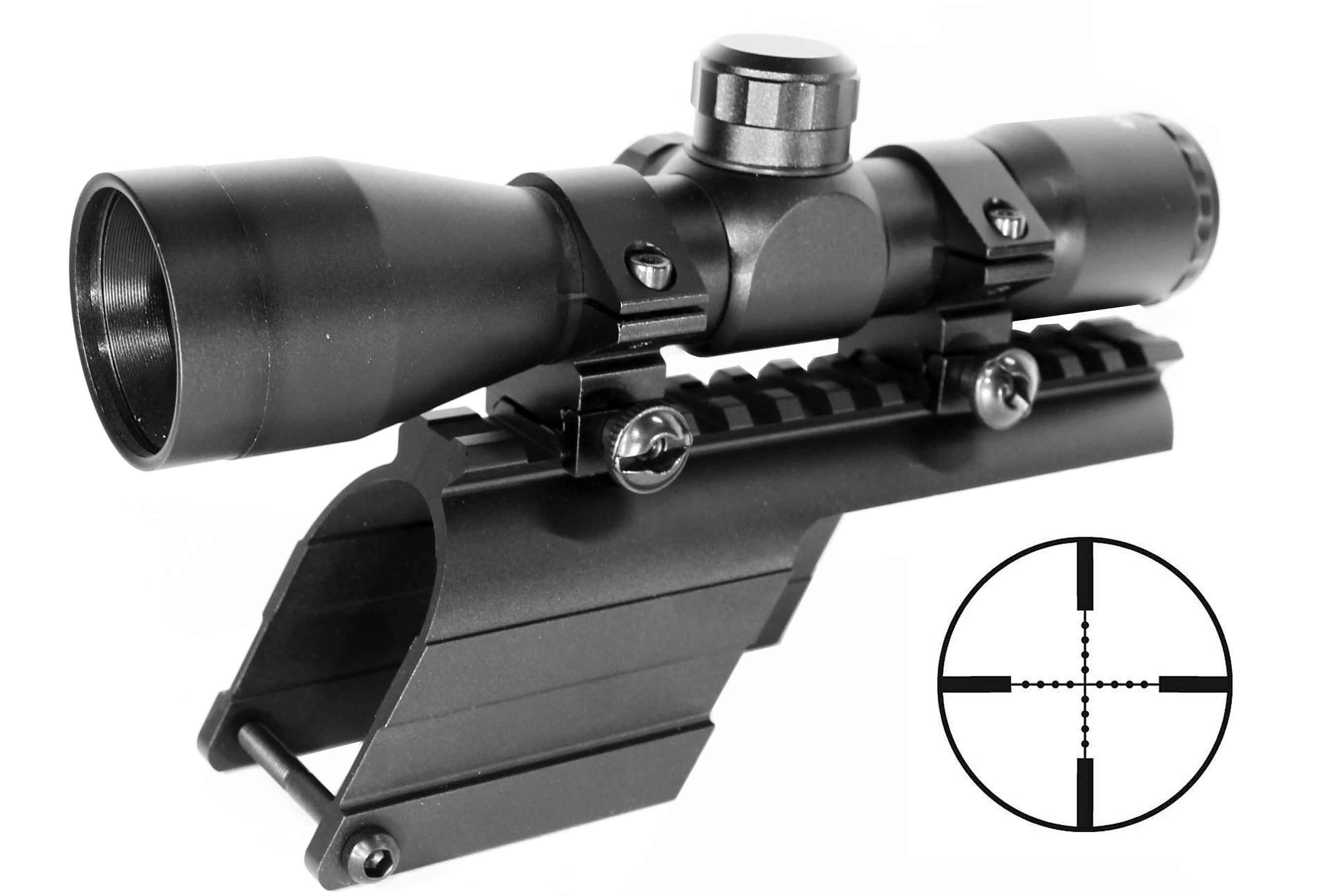 Hunting 4x32 scope and mount kit for Mossberg 500 / Maverick 88 Series  12ga  Shotgun, single rail mount
