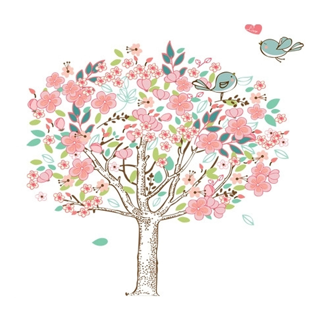 Drawing Room Flower Tree Bird  Removable Wall Sticker Decal Wallpaper