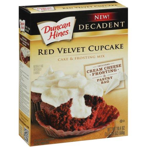 Duncan Hines Decadent Red Velvet Cupcake Cake & Frosting Mix, 19.4 oz