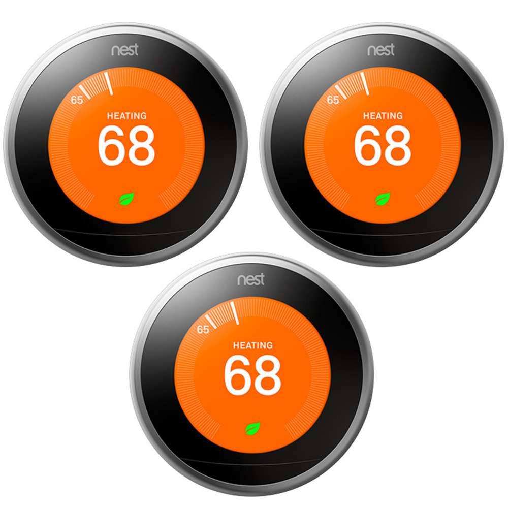 Nest Learning Thermostat 3rd Gen Stainless Steel 3 Pack (T3007ES)