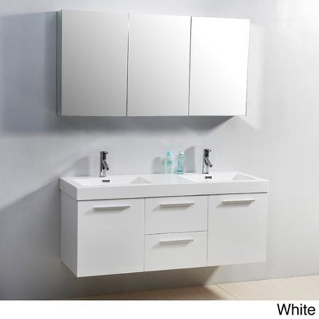Virtu USA Midori 54 Inch Double Sink Vanity Set Gloss White Finish