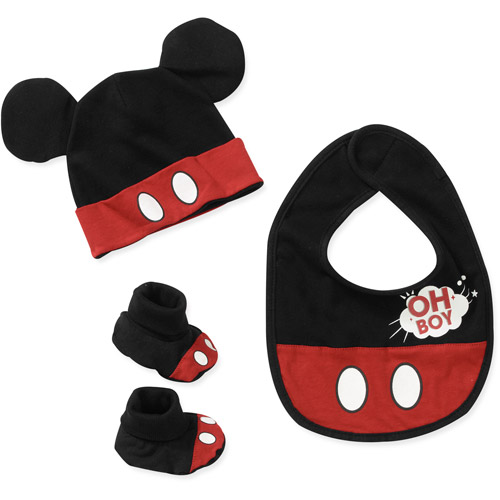 Baby Boys' 3 Piece Mickey Bib, Hat And S
